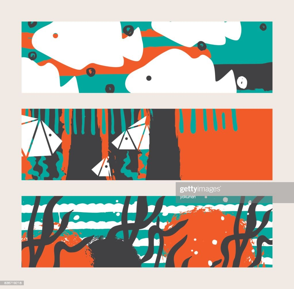 Set of bright vector horizontal banners with fish and seaweed.