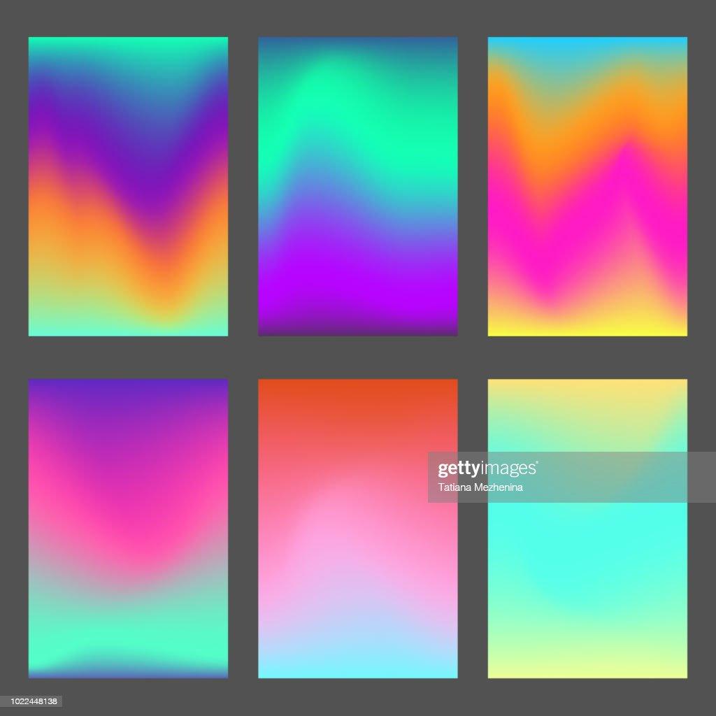 Set of bright wavy dynamic ui backgrounds