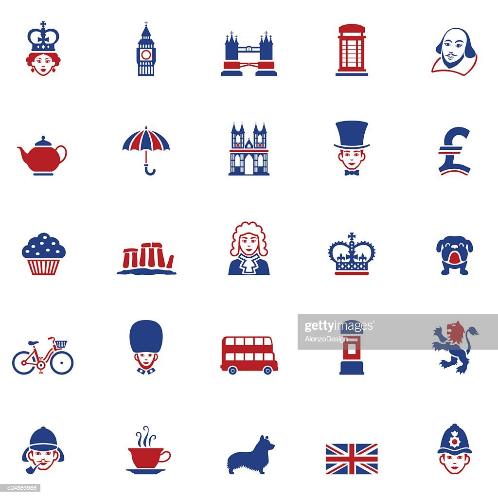 Set of British Icons : stock illustration