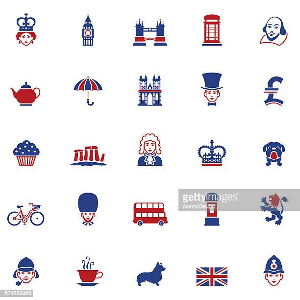 set of british icons - queen royal person stock illustrations