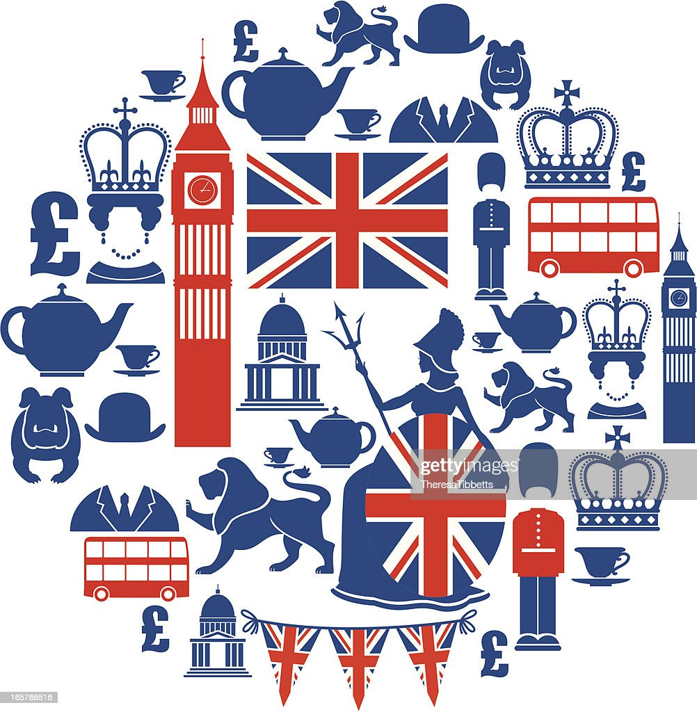 Set of British themed icons in blue and red