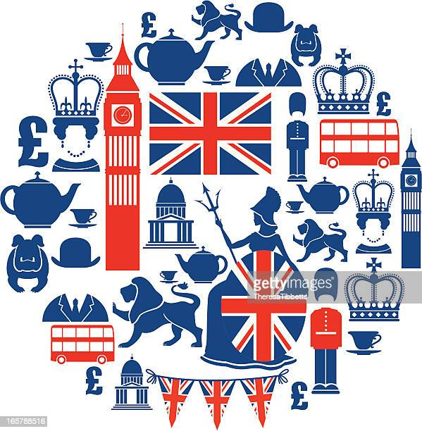 set of british themed icons in blue and red - british culture stock illustrations