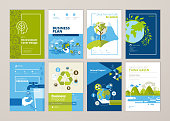 Set of brochure and annual report cover design templates of nature, green technology, renewable energy, sustainable development, environment