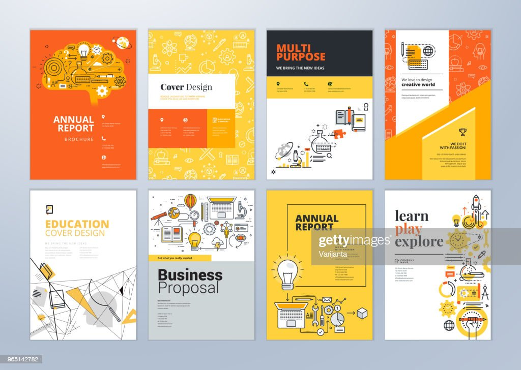 Set of brochure design templates on the subject of education, school, online learning.
