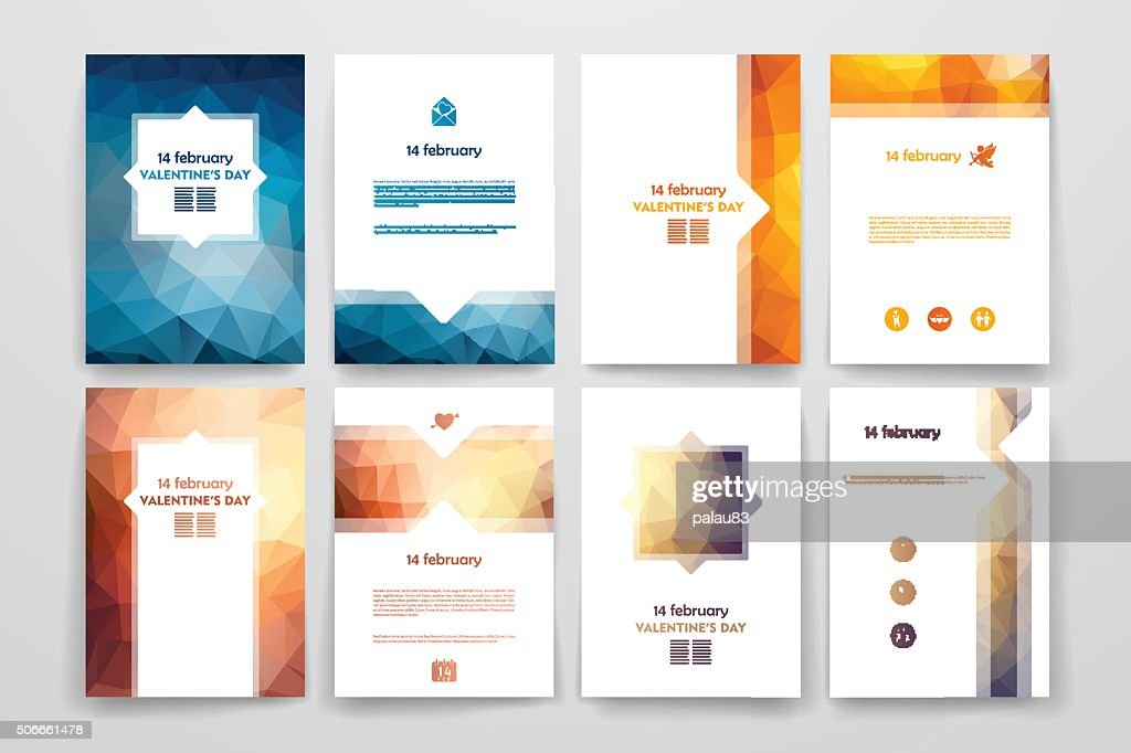 Set of brochures in poligonal style on Valentine's Day