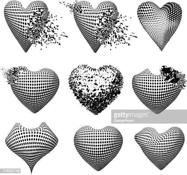 Set of broken hearts and healthy hearts.