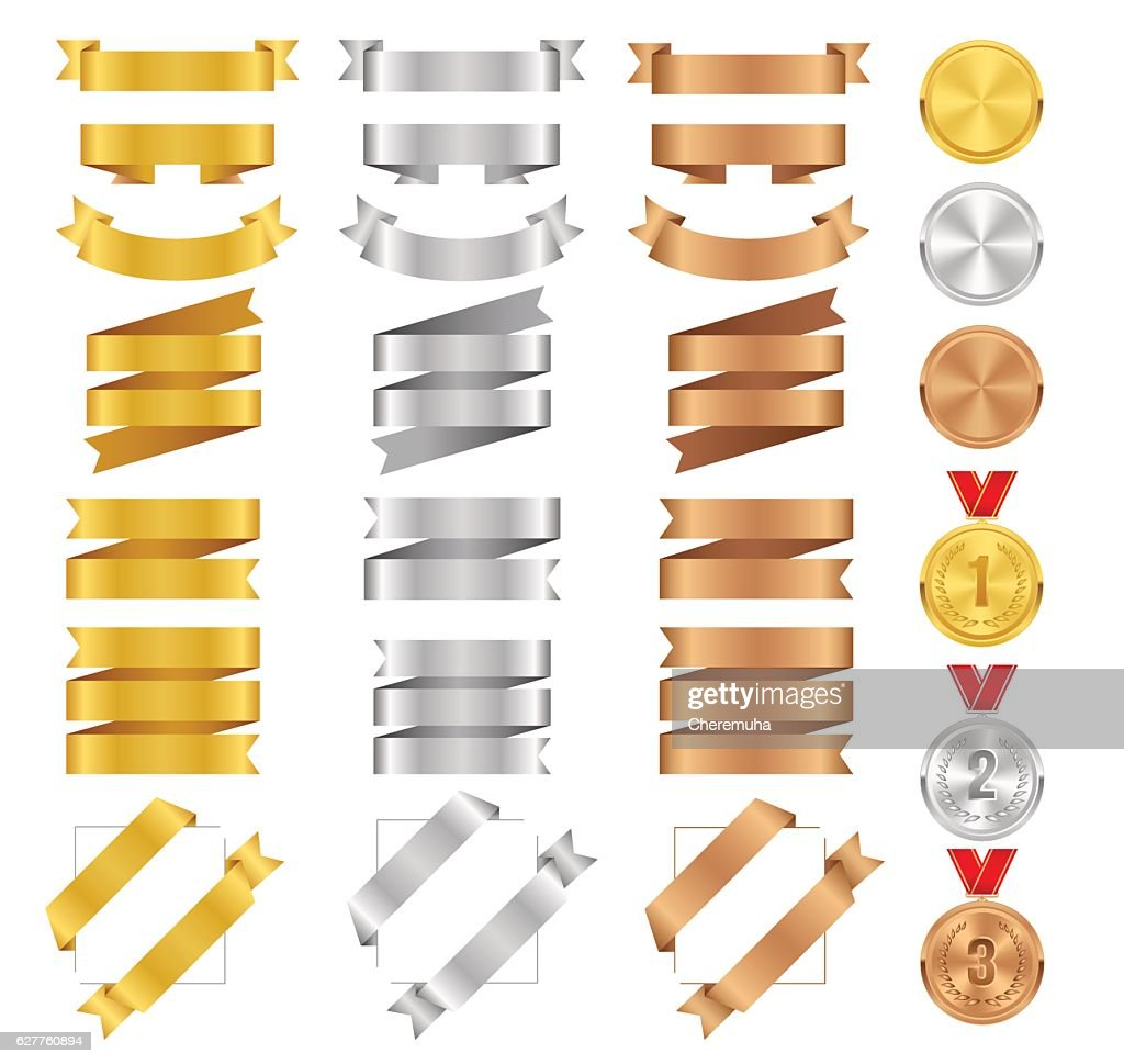 Set of bronze, golden, silver ribbons and vector award medals.