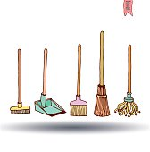 set of brooms, vector illustration