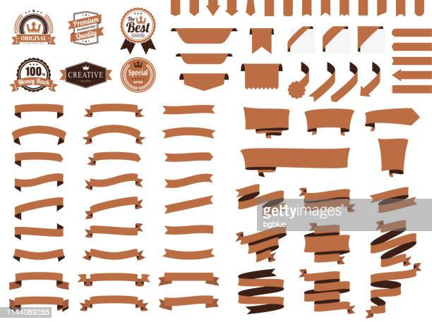 set of brown ribbons, banners, badges, labels - design elements on white background - brown stock illustrations