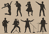 Set of brown silhouettes of musicians, singers and dancers on beige background. Vector illustration