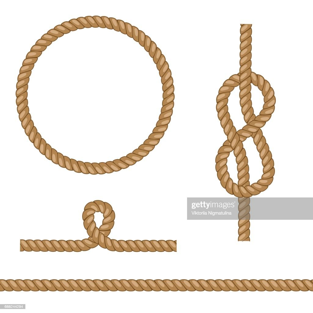 Set of brown vector ropes with different knots.
