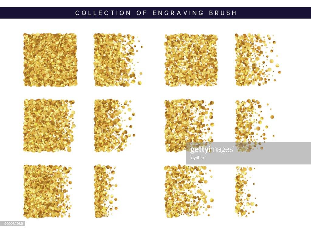 Set of brush stipple gold pattern for design. Dot texture.