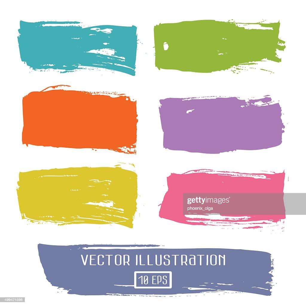 Set of brushes colored ink design elements
