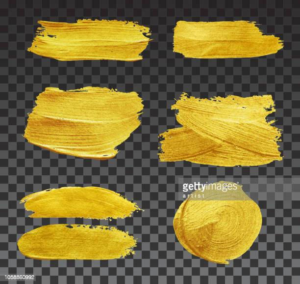 set of brushstrokes. - gold colored stock illustrations, clip art, cartoons, & icons