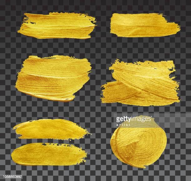 ilustraciones, imágenes clip art, dibujos animados e iconos de stock de conjunto de pinceladas. - gold colored