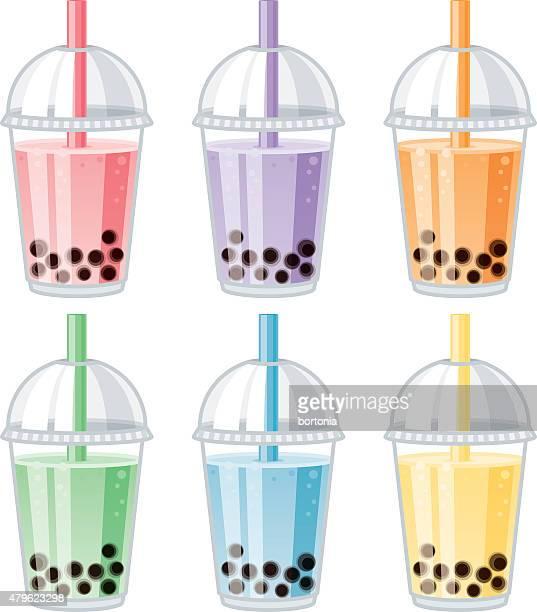 ilustrações, clipart, desenhos animados e ícones de conjunto de chá de bolhas sabores - milk shake