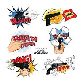 Set of bubbles speech, comic expression and speak onomatopoeia, bam and bang cloud, pow sound. Comic exclamation design in pop art style.
