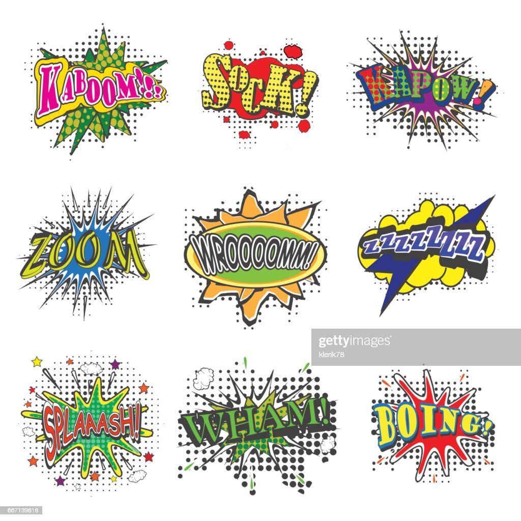 Set of bubbles speech, oops expression and speak onomatopoeia, crash and bang cloud, pow sound and cool comic exclamation, bomb pow sound. vector illustration