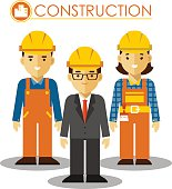Set of builder man and woman in flat style