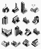 set of building isometric on black white color