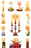 Set of burning candles: classic, in holder, on candlestick, Christmas