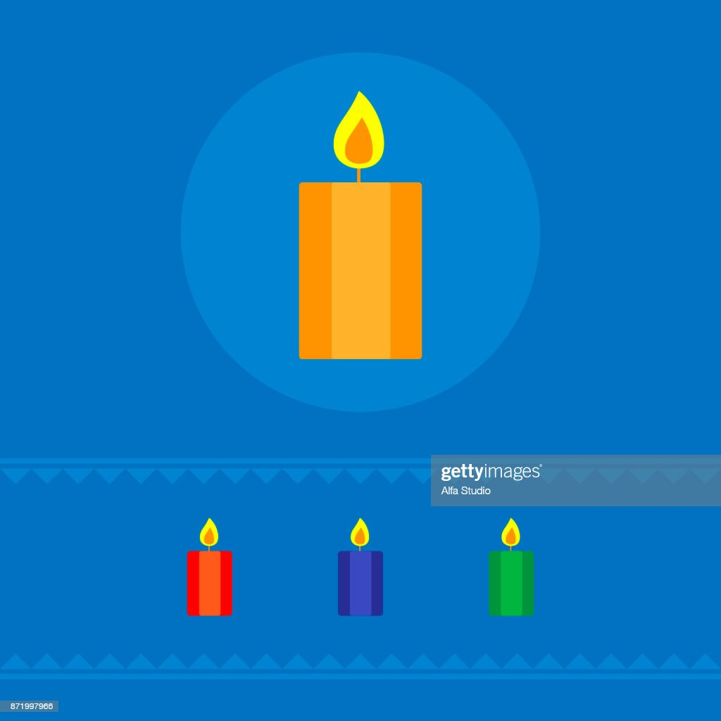 Set of burning candles. The concept of a holiday. Vector illustration.