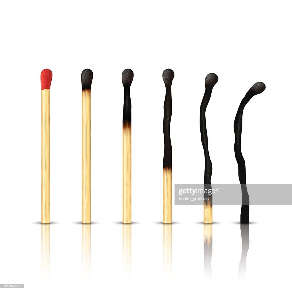 Set of burnt match at different stages isolated on white