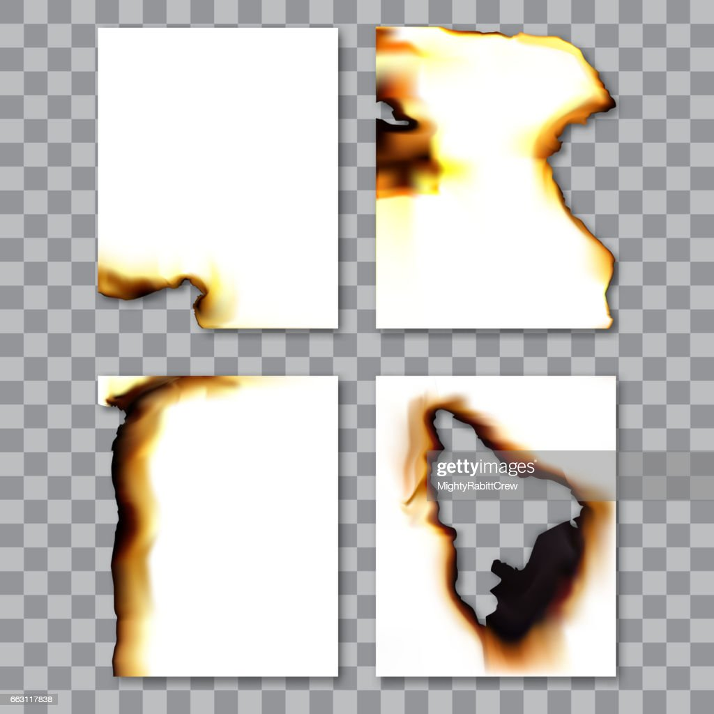 Set of burnt sheets of paper with ash. Damage edge and destroyed sheet. On transparent background vector illustration.