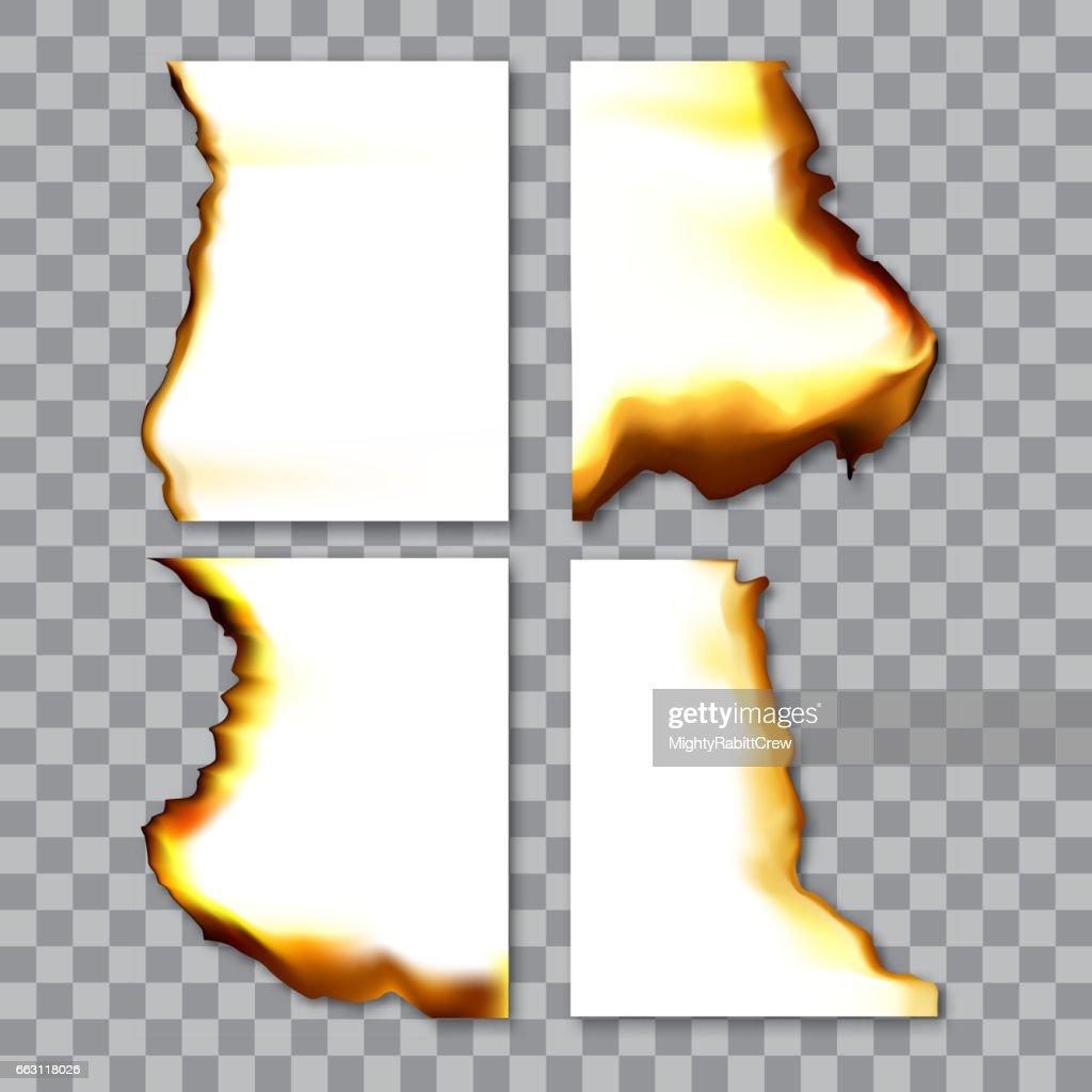 Set of burnt sheets of paper with ash. Damage edge and destroyed sheet. On transparent background vector illustration.