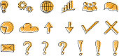 Set of business and finance icons - funny sketch. Vector.