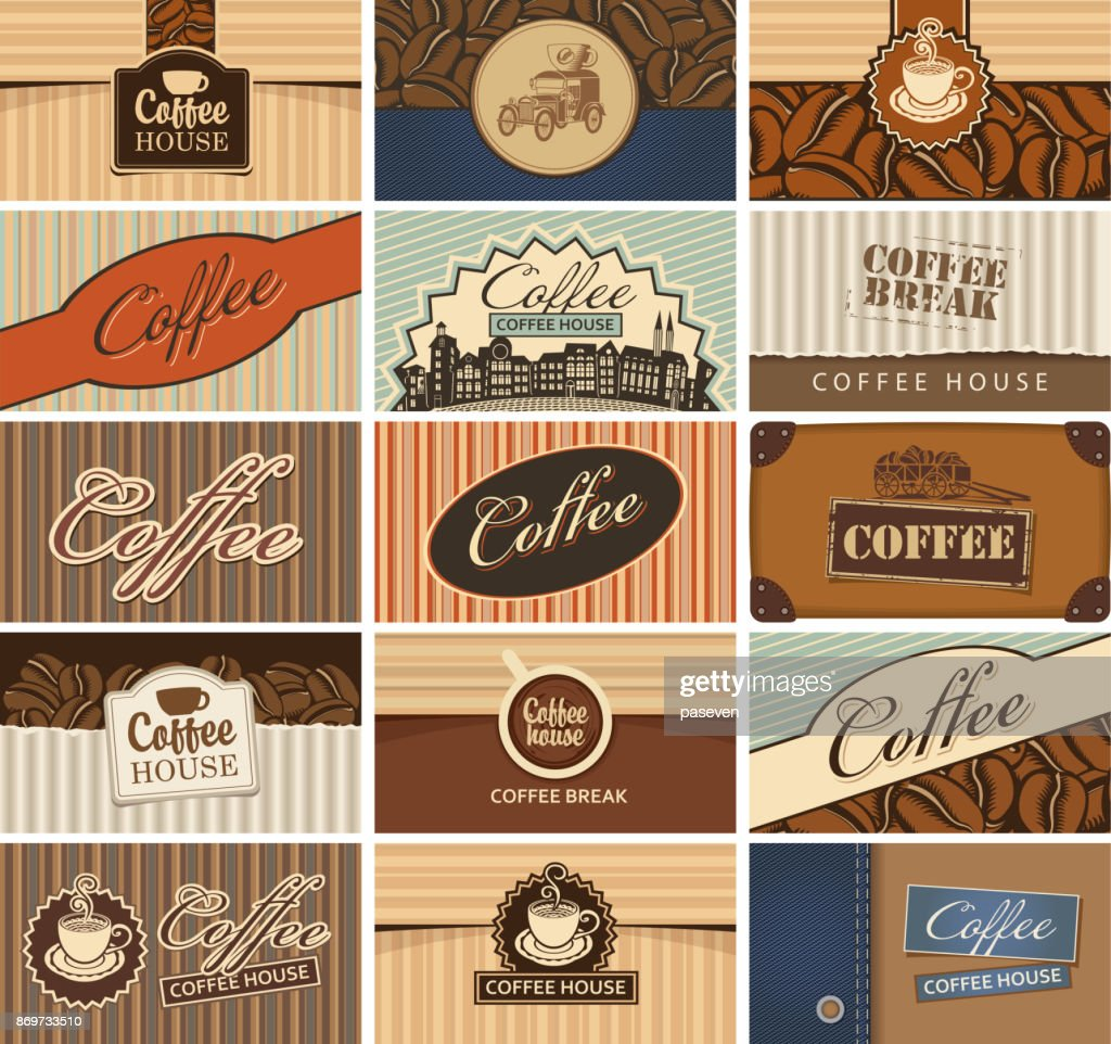set of business cards on the coffee theme