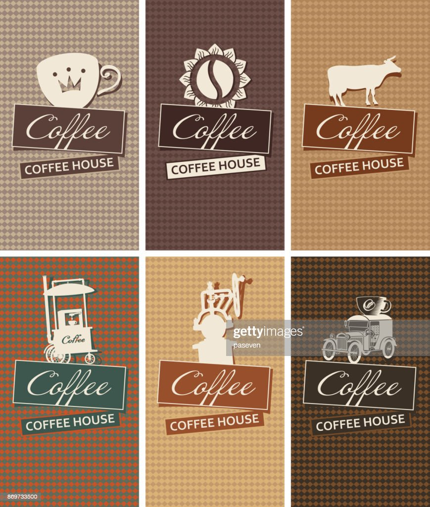 set of business cards on the theme of coffee house