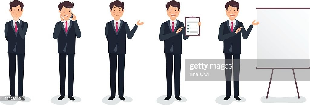 Set of business character expressing feelings and emotions.