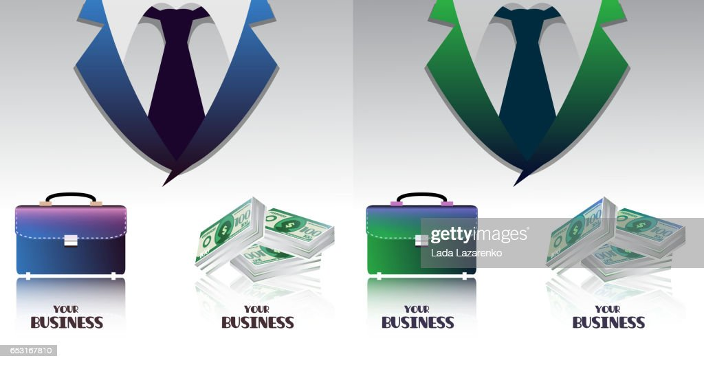 Set of business colored backgrounds with briefcases and bundle of money