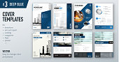 Set of business cover design template in dark blue color for brochure, report, catalog, magazine or booklet. Creative vector background concept