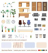Set of business elements and furniture to create office