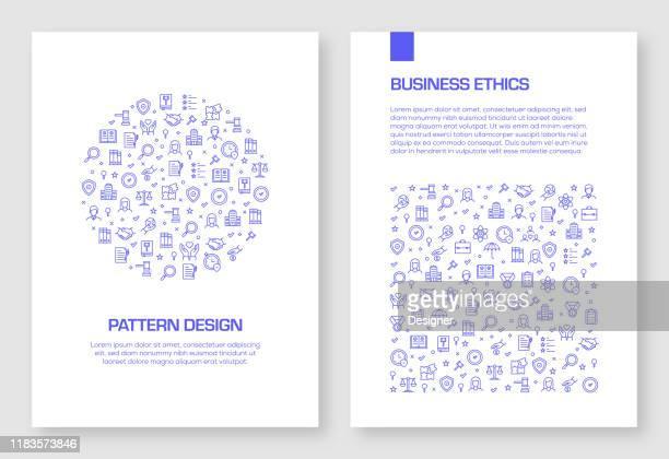 パンフレット、年次報告書、ブックカバーのためのビジネス倫理アイコンベクトルパターンデザインのセット。 - 光栄点のイラスト素材/クリップアート素材/マンガ素材/アイコン素材
