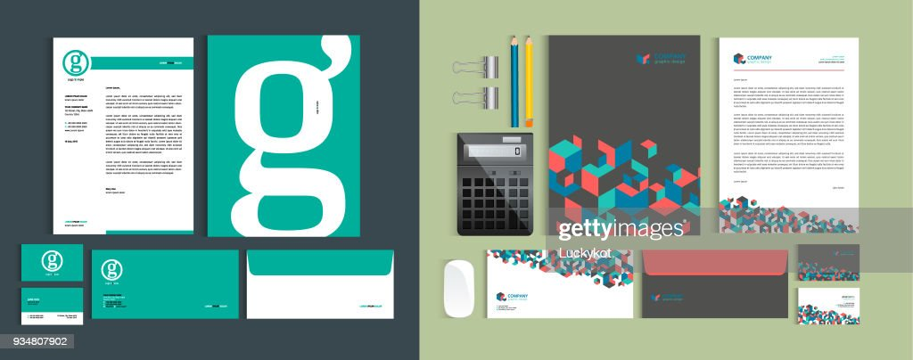 Set of Business identity design templates. Stationery set -  Letterhead A4 template, name card (3,5 x 2), envelope (8.66 x 4.33), presentation folder(9 x 12). Vector illustration.