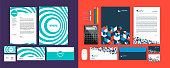 Set of Business identity design templates. Stationery set -  Letterhead A4 template, name card (3,5 x 2), envelope (8.66 x 4.33), presentation folder(9 x 12). Vector illustration.