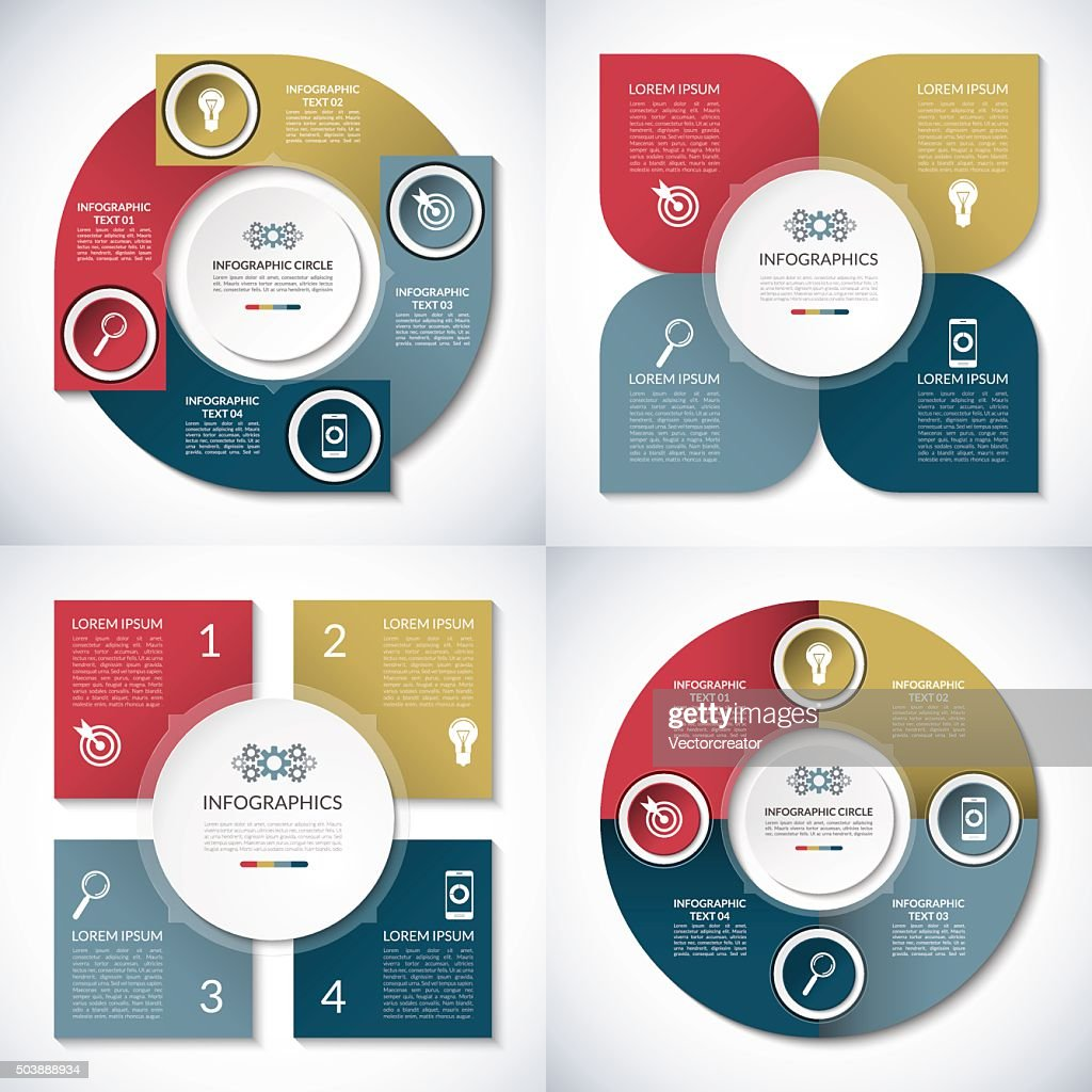 Set of business infographic circle templates. 4 step vector  banners