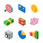 Set of business isometric flat icons. Target, card, coin, cash, wallet, pig, safe, diagram and graph.