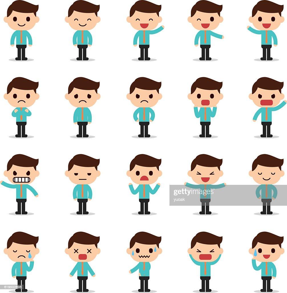 Set of business man character : stock illustration
