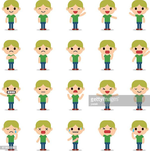 set of business man character - human representation stock illustrations