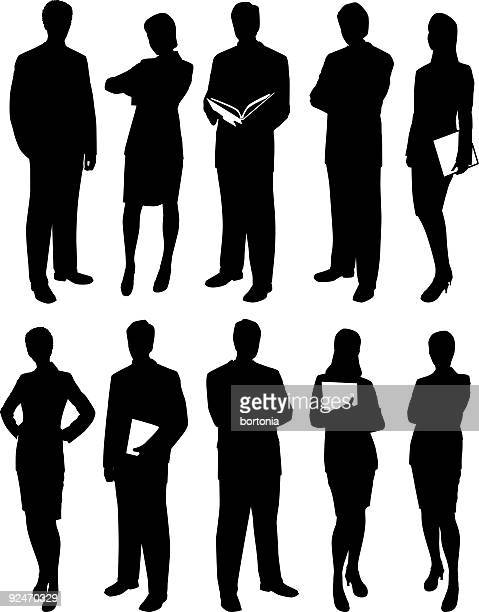 Set of Business Men and Women Silhouettes