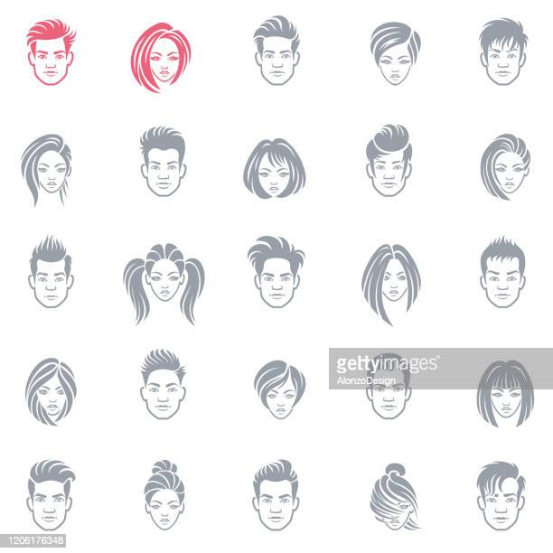 satz von geschäftsleuten avatar-symbole - malermodell stock-grafiken, -clipart, -cartoons und -symbole