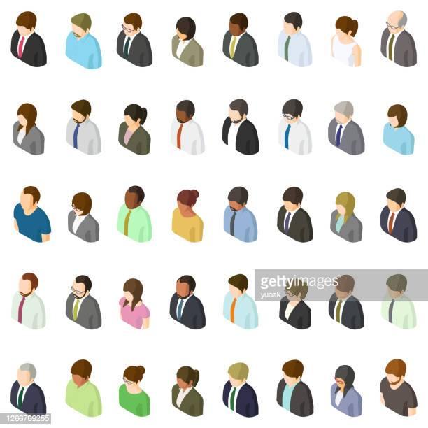 illustrazioni stock, clip art, cartoni animati e icone di tendenza di set di avatar isometrici degli uomini d'affari - donna in carriera