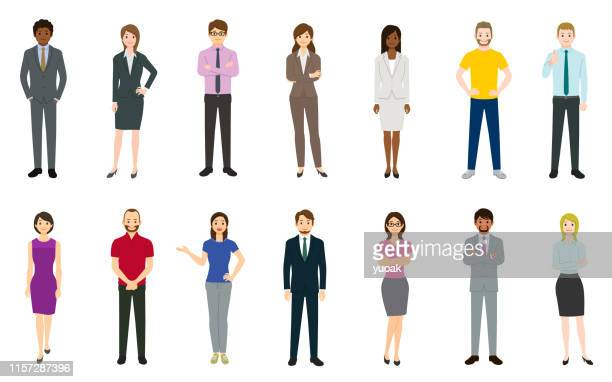 set of business people - mature adult stock illustrations