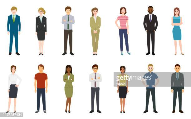 set of business people - lutin stock illustrations