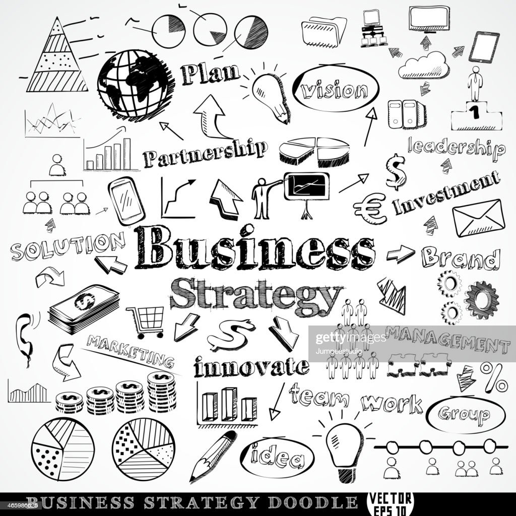Set of business strategy symbol doodle, vector illustration