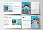 Set of business templates for presentation slides. Easy editable layouts